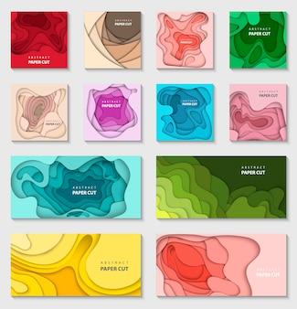 Zestaw 12 kolorów tła z wyciętymi papierami