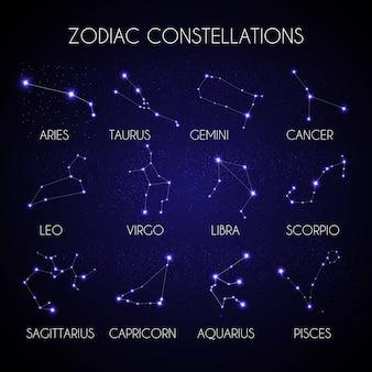 Zestaw 12 konstelacji zodiaku na tle ilustracji kosmicznego nieba
