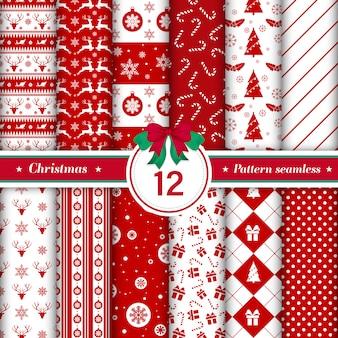 Zestaw 12 wzorów wesołych świąt bez szwu.