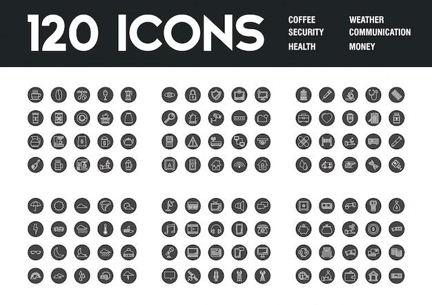 Zestaw 120 ikon o różnych motywach