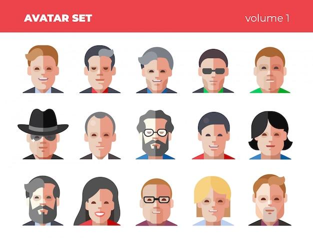 Zestaw 15 ikon płaskich awatarów. śmieszne jasne ilustracje.