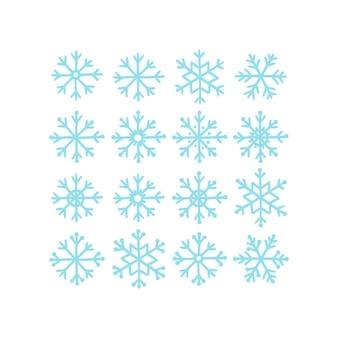 Zestaw 16 doodle płatków śnieguf