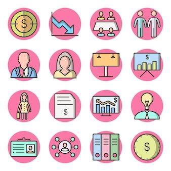 Zestaw 16 ikon biznesowych na białym wektorze na białym tle elementów