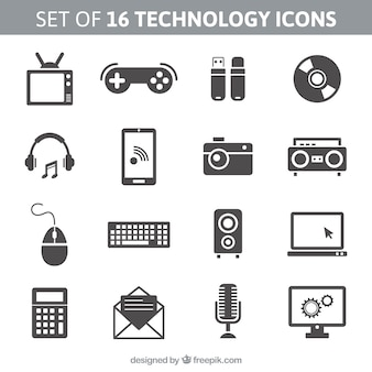 Zestaw 16 ikon technologii