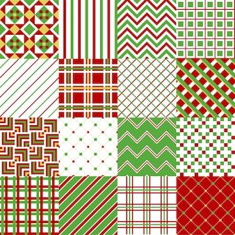Zestaw 16 kolorowych tradycyjnych wzorów bożonarodzeniowych. ilustracja wektorowa