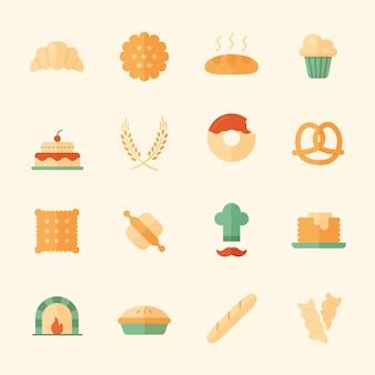 Zestaw 16 płaskich ikon piekarni.