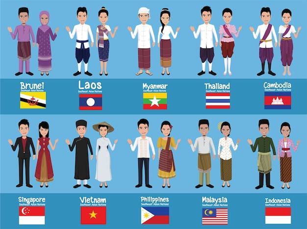 Zestaw 20 azjatyckich mężczyzn i kobiet w tradycyjnych strojach