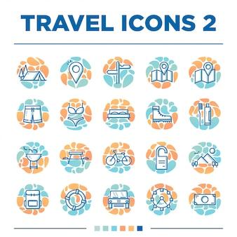 Zestaw 20 innych ikon podróży o unikalnym stylu