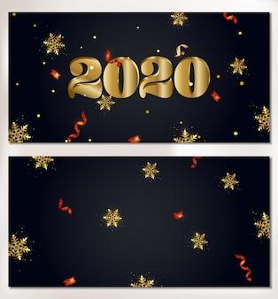 Zestaw 2020 szczęśliwego nowego roku płatki śniegu transparent, błyszczy, światła, konfetti.