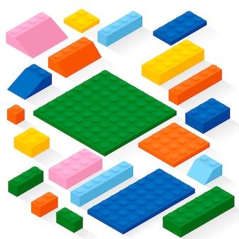 Zestaw 21 różnych kolorowych detali. zestaw, cegły.