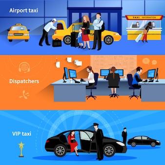 Zestaw 3 poziomych banerów przedstawiających dyspozytorów taksówek lotniskowych i taksówkę vip