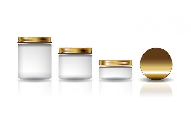 Zestaw 3 rozmiarów białego kosmetycznego okrągłego słoika ze złotą pokrywką dla urody lub zdrowego produktu.