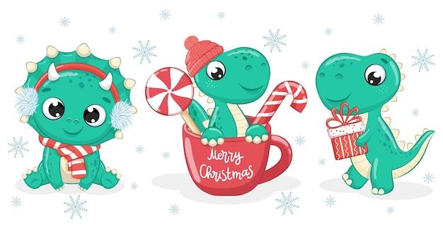 Zestaw 3 uroczych dinozaurów na nowy rok i boże narodzenie. ilustracja wektorowa kreskówki.