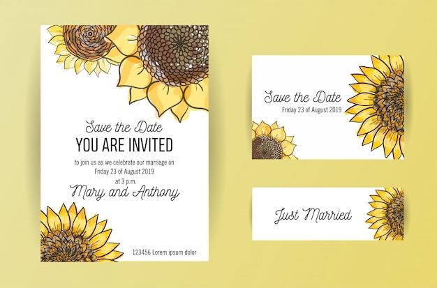 Zestaw 3 zaproszenia ślubne z dużymi żółtymi kwiatami słonecznik. szablon projektu zaproszenia ślubne a5 z illustation szkicu