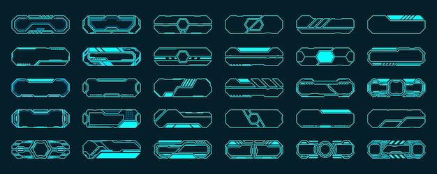 Zestaw 30 elementów hud futurystyczny interfejs ramki