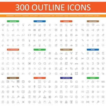 Zestaw 300 ikon konspektu dla strony internetowej i aplikacji