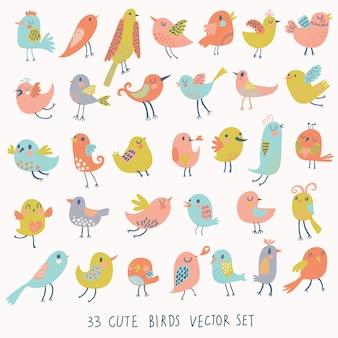 Zestaw 33 uroczych ptaków w wektorze kolekcja kreskówek z zabawną małą rodziną ptaków