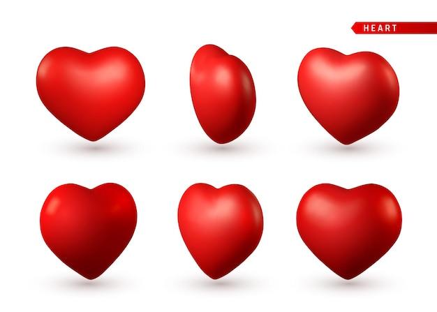 Zestaw 3d czerwone serce. symbol miłości na białym tle