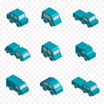 Zestaw 3d izometrycznych pojazdów zabawkowych