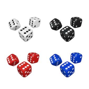 Zestaw 3d kolorowych kostek. renderuj realistyczne kości. kasyno i zakłady w tle. ilustracja wektorowa