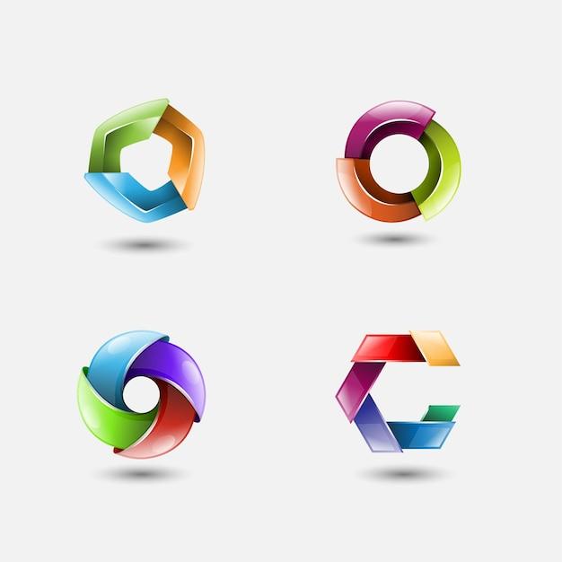 Zestaw 3d logo wektor koło