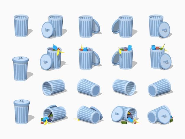 Zestaw 3d lowpoly izometrycznych pojemników na śmieci