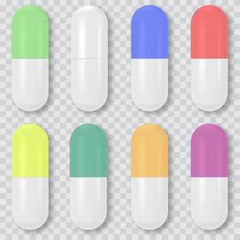 Zestaw 3d realistyczne białe tabletki medyczne, kapsułki. wektor