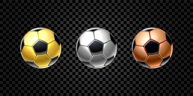 Zestaw 3d realistycznej piłki nożnej w kolorze złotym