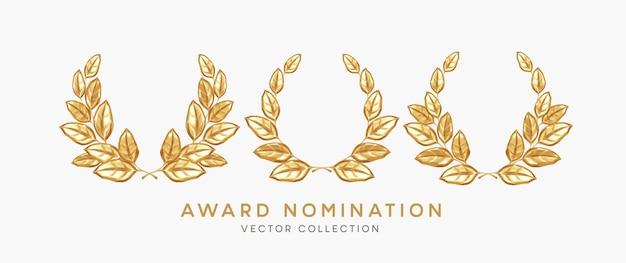 Zestaw 3d realistyczny złoty wieniec laurowy nominacje do nagrody na białym tle. nagroda, nagroda, nagradzanie, nominowanie elementów projektu. ilustracja wektorowa