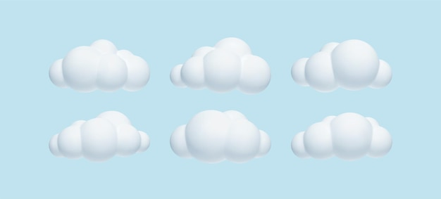 Zestaw 3d Realistycznych Prostych Chmur Na Niebieskim Tle Darmowych Wektorów
