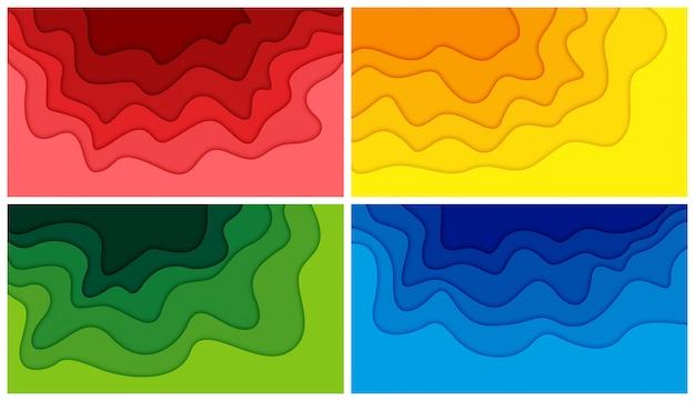 Zestaw 3d streszczenie tło i kształty cięcia papieru