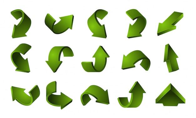 Zestaw 3d zielone strzałki. recykling strzałki na białym tle