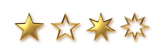 Zestaw 3d złotych gwiazd metalu. elementy ozdobne na uroczystość wręczenia nagród, święta bożego narodzenia lub nowego roku. ilustracja wektorowa.