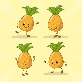 Zestaw 4 ananasów kawaii z różnymi wyrazami szczęścia