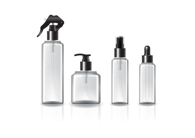 Zestaw 4 butelek / rozmiarów kwadratowych butelek kosmetycznych z czarnym pierścieniem do produktów kosmetycznych