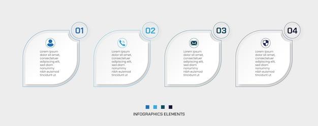Zestaw 4 kroków infografiki biznesowej z narożnymi okrągłymi kształtami