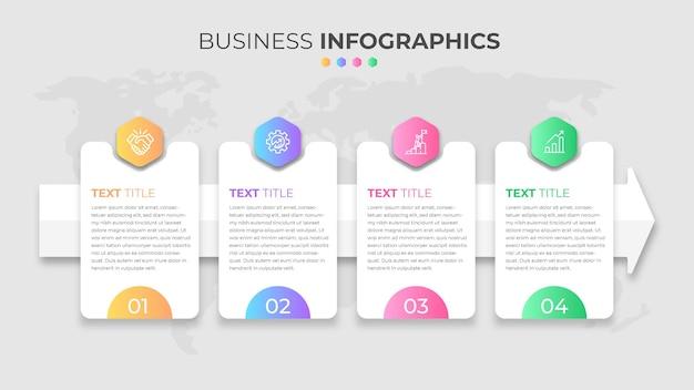 Zestaw 4 kroków infografiki biznesowych z różnymi kształtami kolorów gradientu