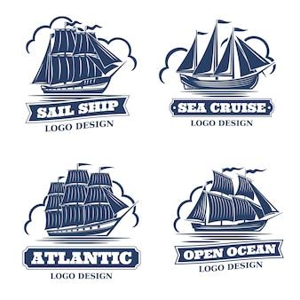 Zestaw 4 logo z wizerunkiem żaglowców w stylu retro, kolor monochromatyczny. pojedynczo na białym tle. jest miejsce na tekst