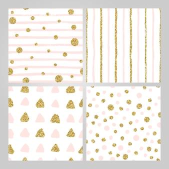 Zestaw 4 ręcznie rysowane bezszwowe wzory w kolorze złotym, pastelowym różu. paski, kropki, trójkąty, okrągłe wzory pędzla. abstrakcyjna niekończąca się tekstura dla nowoczesnego papieru opakowaniowego, pocztówki, mediów społecznościowych