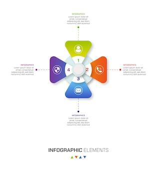 Zestaw 4-stopniowych elementów infografiki biznesowej z gradientowymi kształtami