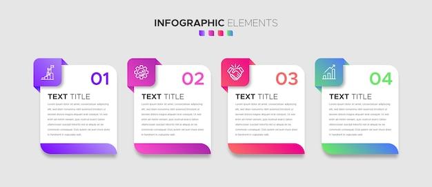 Zestaw 4-stopniowych elementów infografiki biznesowej ze stylowymi gradientowymi kształtami