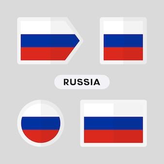 Zestaw 4 symboli z flagą rosji