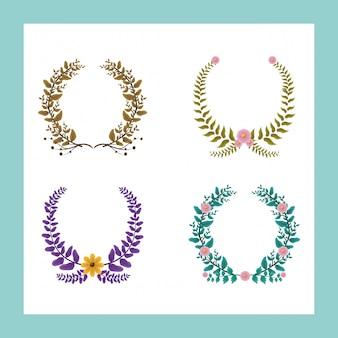 Zestaw 4 wieńców laurowych w kolorach zielonym i fioletowym z żółtymi i różowymi kwiatami