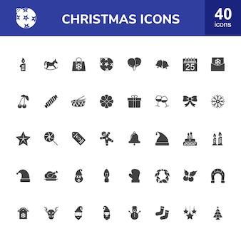 Zestaw 40 ikon glifów świątecznych