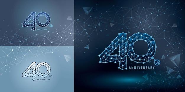 Zestaw 40-lecia projektowania logotypu czterdzieści lat świętujemy rocznicowe logo streszczenie połącz kropki tech numer logo