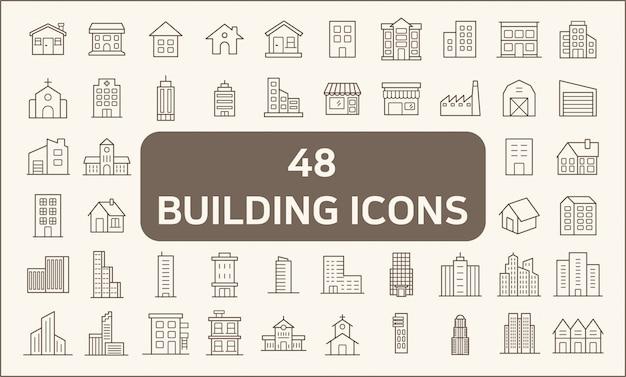 Zestaw 48 stylów linii budynku i nieruchomości ikony. zawiera takie ikony, jak dom, konstruktor, miasto, miasto, mieszkanie, biuro, kościół, struktura i wiele innych.