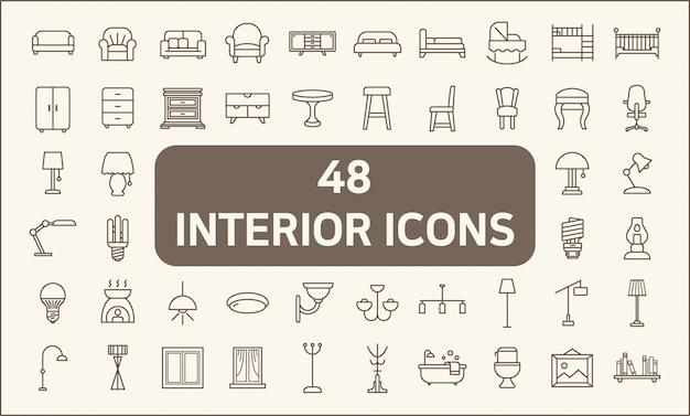 Zestaw 48 stylów linii wnętrz i oświetlenia. zawiera takie ikony, jak oświetlenie, lampa podłogowa, świeca, dekoracja domu, żyrandol, światła, meble, łóżko, krzesło i inne.