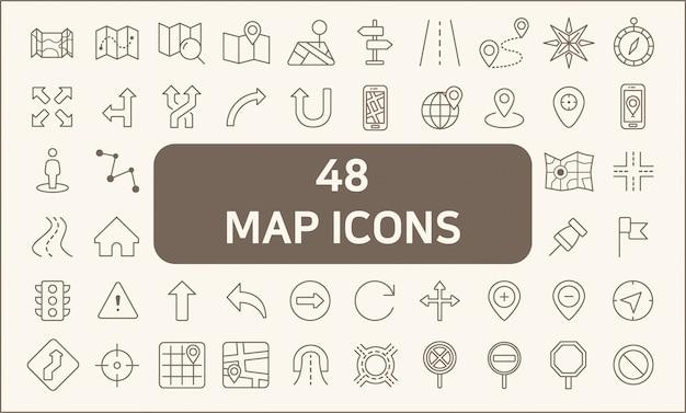 Zestaw 48 stylów map i linii nawigacyjnych. zawiera takie ikony, jak mapa, kierunek, droga, nawigacja gps, trasa, znak kierunku, znak drogowy, strzałka i inne.