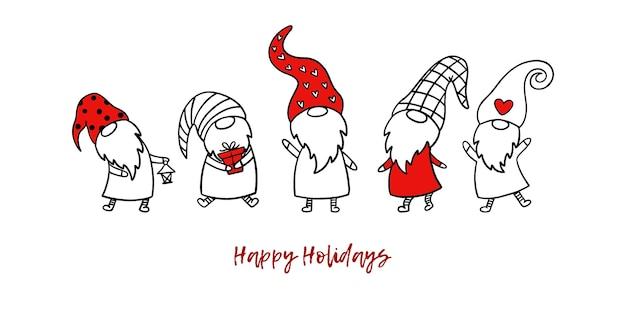 Zestaw 5 bożonarodzeniowych krasnali