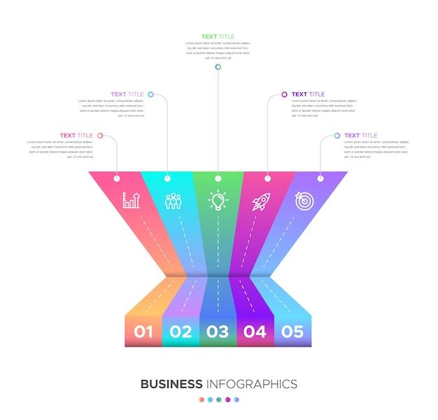 Zestaw 5-stopniowych infografik biznesowych z gradientowymi kształtami